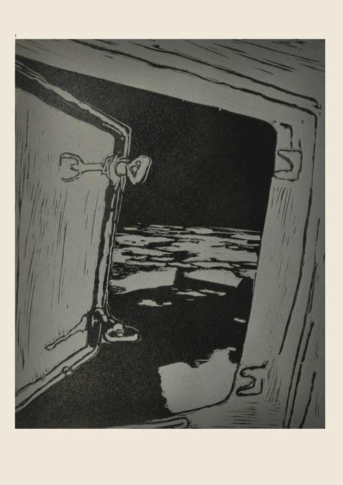 Mads Thomsen: Linoleumssnit fra serien 'M/S Vega'. Pressefoto.