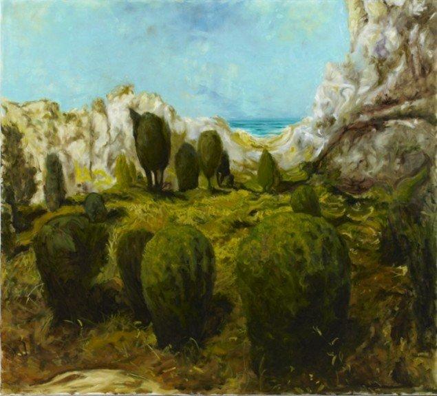 Odey Curbelo: Up Here (Heroppe), 2011, olie på lærred, 200 x 180 cm. Foto: Anders Sune Berg.