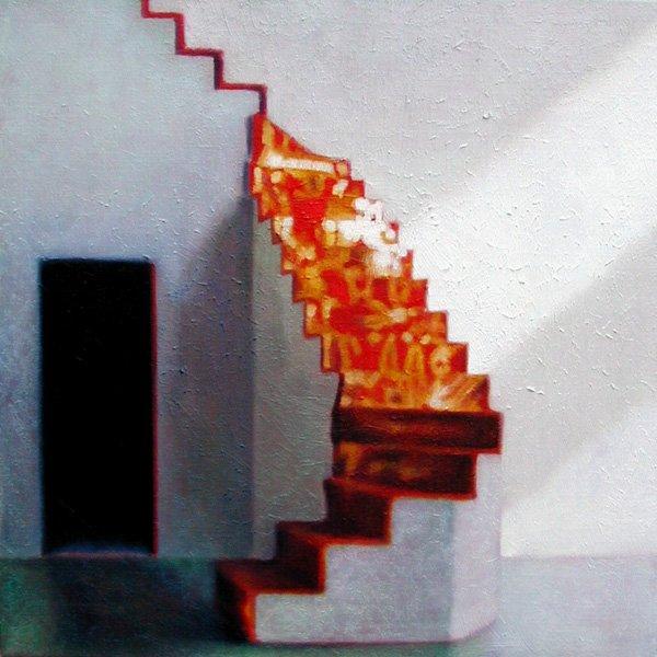 Uden titel, 2004. Olie på lærred, 45x45. Foto: Galerie MøllerWitt