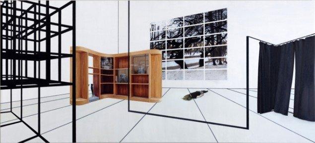 STRUCTURAL RATIONALIZATION(LYING), 2012. Olie på lærred, 125x275 cm. Foto: Anders Sune Berg