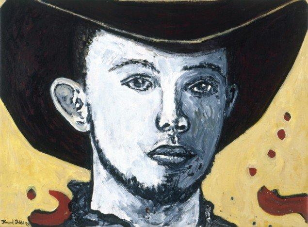 Wanted Cowboy, 1999. Akryl på lærred, 45/63 cm. Fotograf: Bent Ryberg
