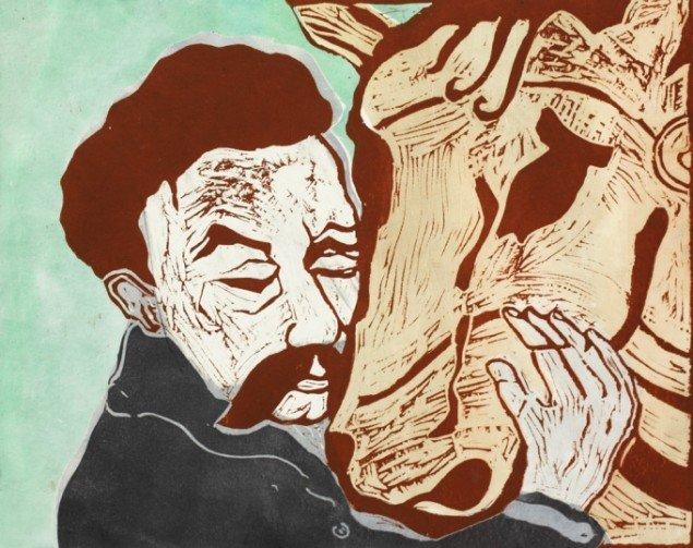 Nietzsche og hest, 2010. Linoleumssnit, 40/65 cm, oplag 20. Fotograf: Anders Sune Berg