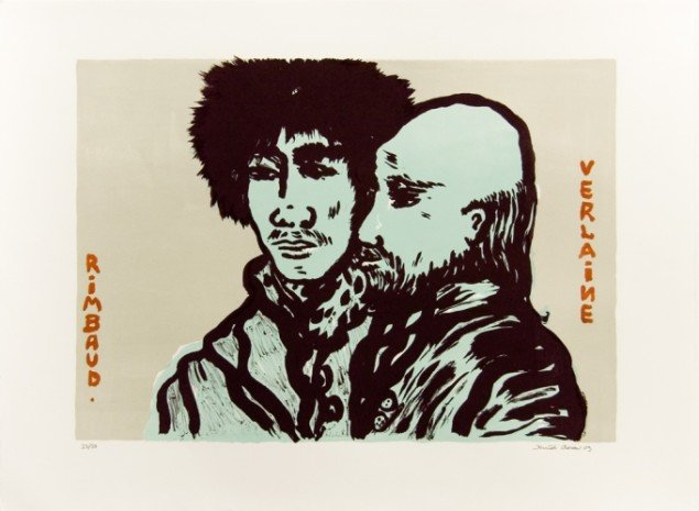 'Rimbaud & Verlaine', 2009. Litografi, 50/70 cm, oplag 50 ex.