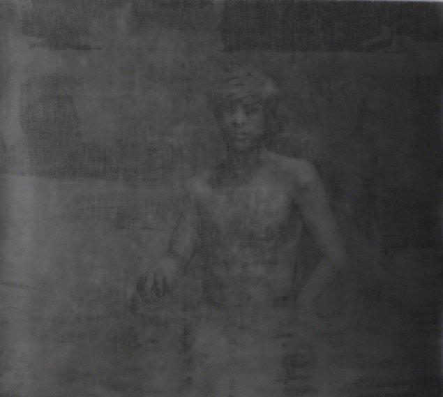 Matt Saunders: Small Deep End #2, 2012-13. Sølv gelatine tryk på fiberbaseret papir, 105 x 114 cm. På Slow Fading Hand, Martin Asbæk Gallery, 2014. Foto: Matt Saunders