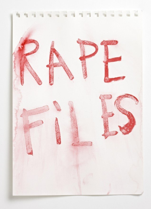 Rape Files 2009, tusch, papir 32x24 cm. Foto: Jeppe Sørensen.