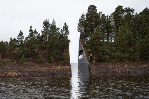 Jonas Dahlberg: Mindesår, vinderprojekt til Utøya-mindesmærke, Sørbråten, Norge, 2013. Foto: Jonas Dahlberg Studio, courtesy of KORO Public Art Norway.
