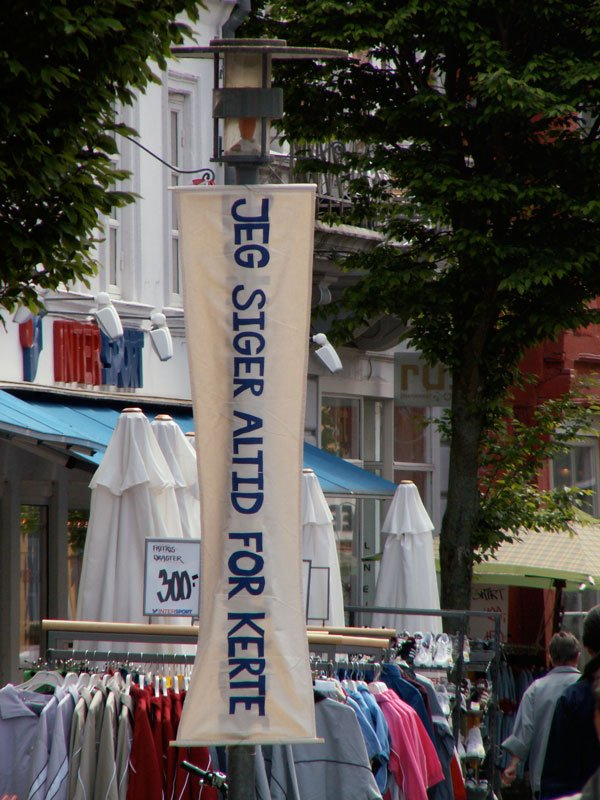 Et af Gudrun Hasles offentlige projekter: Bander på gågaden, fra 2005.