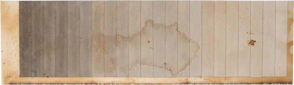 Long, Long, Long, 2012. 60 x 210 cm, akrylmaling, kaffe, grafit og lak på lærred. Foto: Tor Bagger