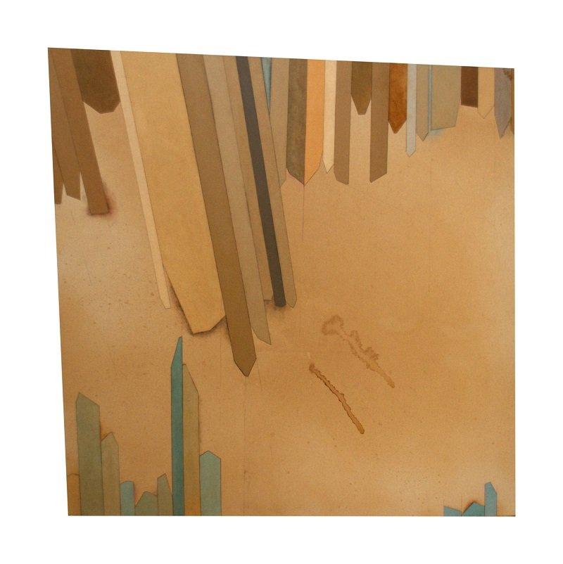 DDR Palette (Hopeful), 2014. 130 x 130 cm, akrylmaling, kaffe, grafit og lak på lærred. Foto: Tor Bagger