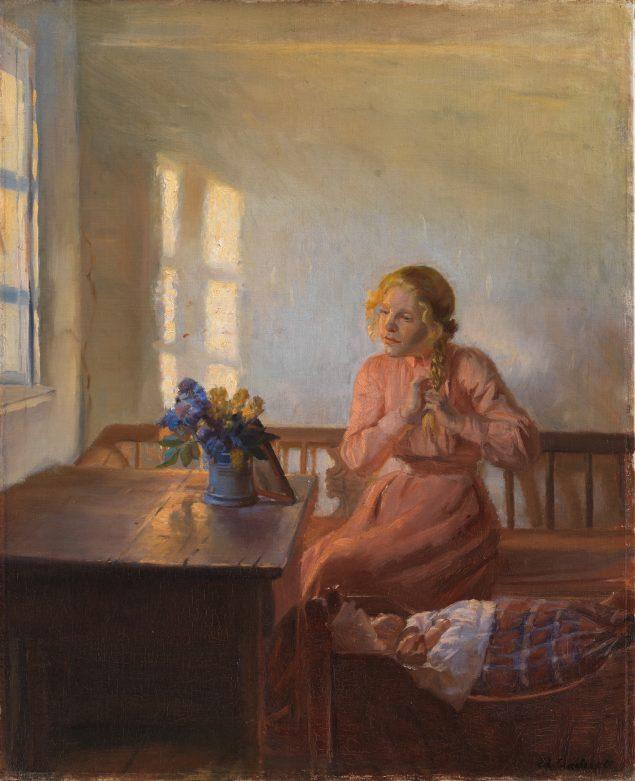 Anna Ancher, SMK, Statens museum for kunst, Interiør med ung pige